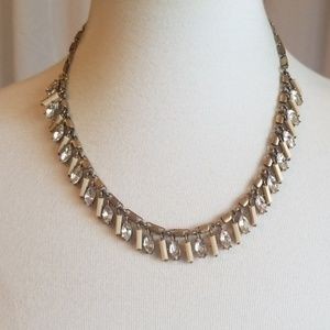 J. Crew Antique Gold Toned Necklace w Rhinestones